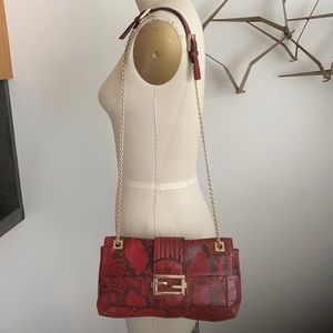 Fendi red snakeskin shoulderbag